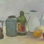 Kanne, Flasche, Krug und Obst dargestellt auf einem Tisch