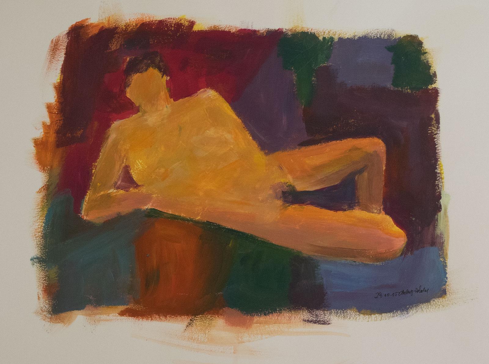 liegender Männerakt auf farbigem Hintergrund