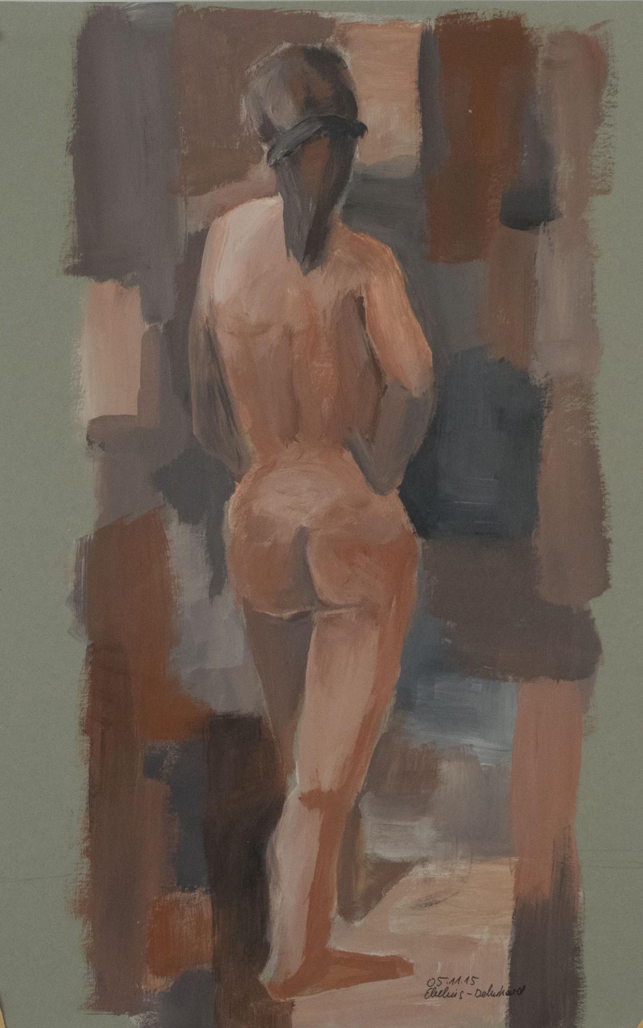 weiblicher Rückenakt vor abstraktem Hintergrund
